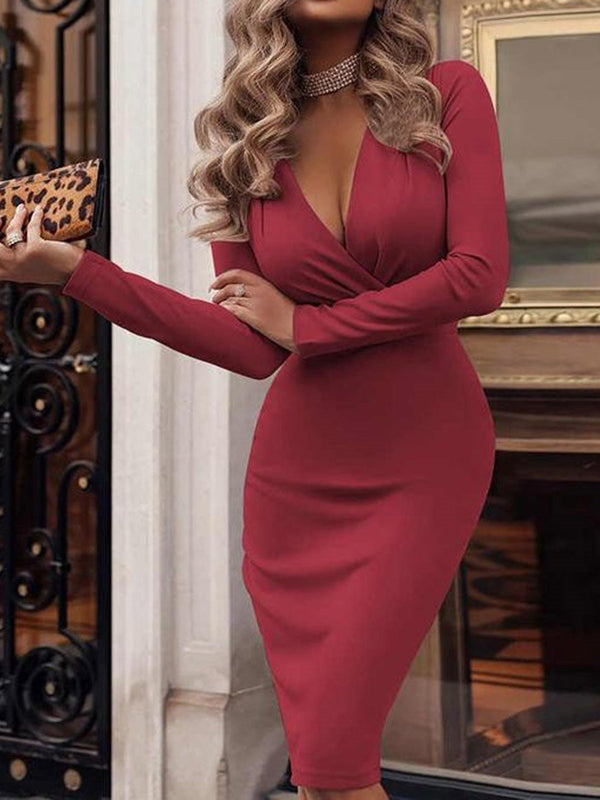 Long Sleeve Knee-Length V-Neck Regular Pencil Dress