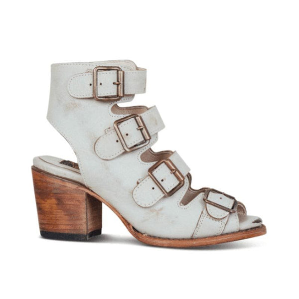 Strappy Buckle Chunky Heel Round Toe Plain High-Cut Upper Sandals