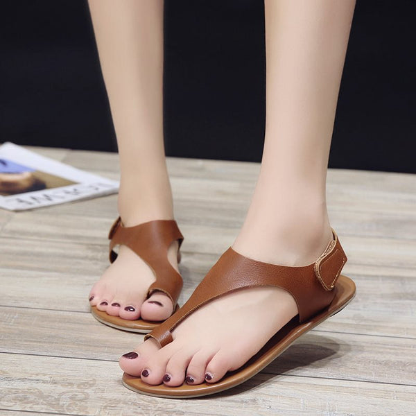Toe Ring Velcro Block Heel Slingback Strap Low-Cut Upper Casual Sandals