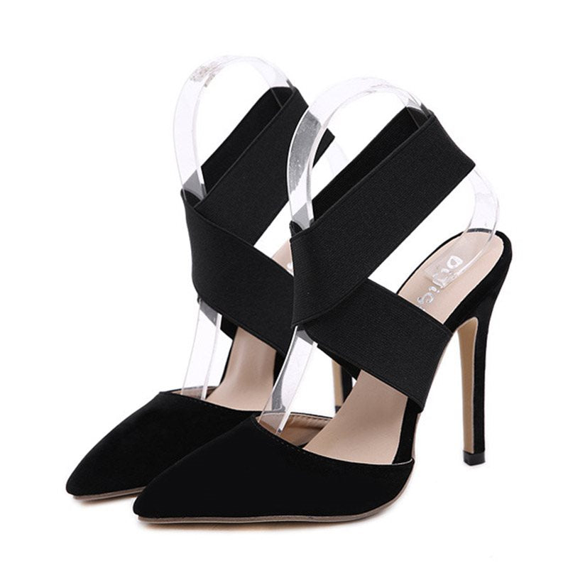 Elastic Band Ankle Strap Stiletto Heel Pointed Toe Plain Casual Sandals