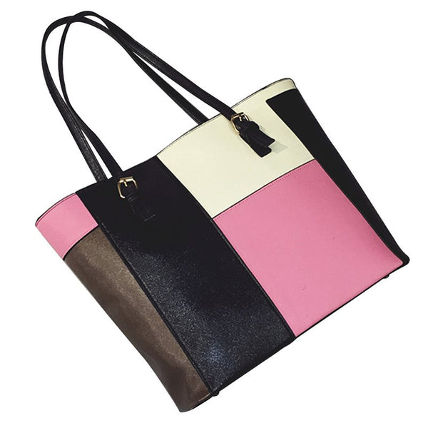 Casual Patchwork PU Tote Bag