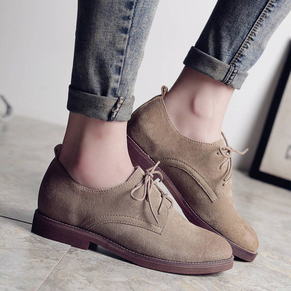 Round Toe Lace-Up Block Heel Low Heel Casual Thin Shoes
