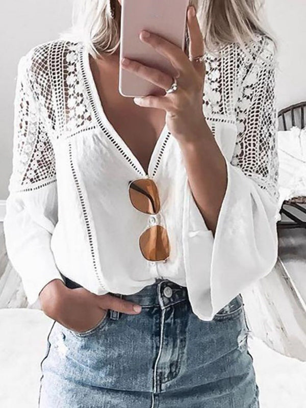 Hollow V-Neck Flare Sleeve Standard Long Sleeve Blouse