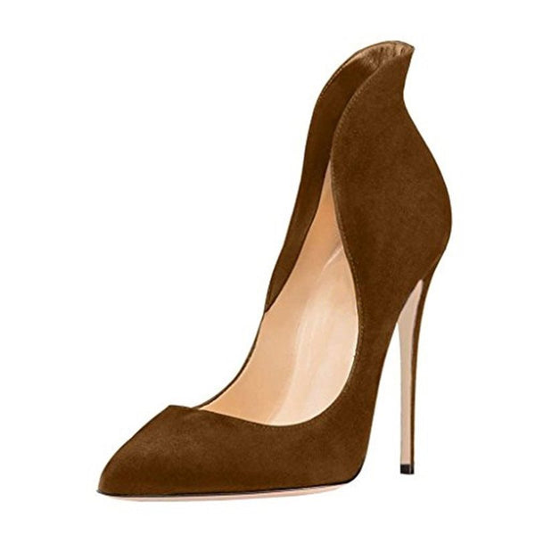 Slip-On Stiletto Heel Pointed Toe Plain 10cm Thin Shoes