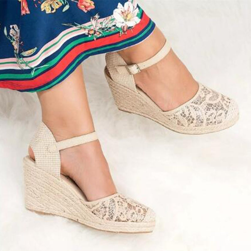 Closed Toe Buckle Wedge Heel High Heel Casual Thin Shoes