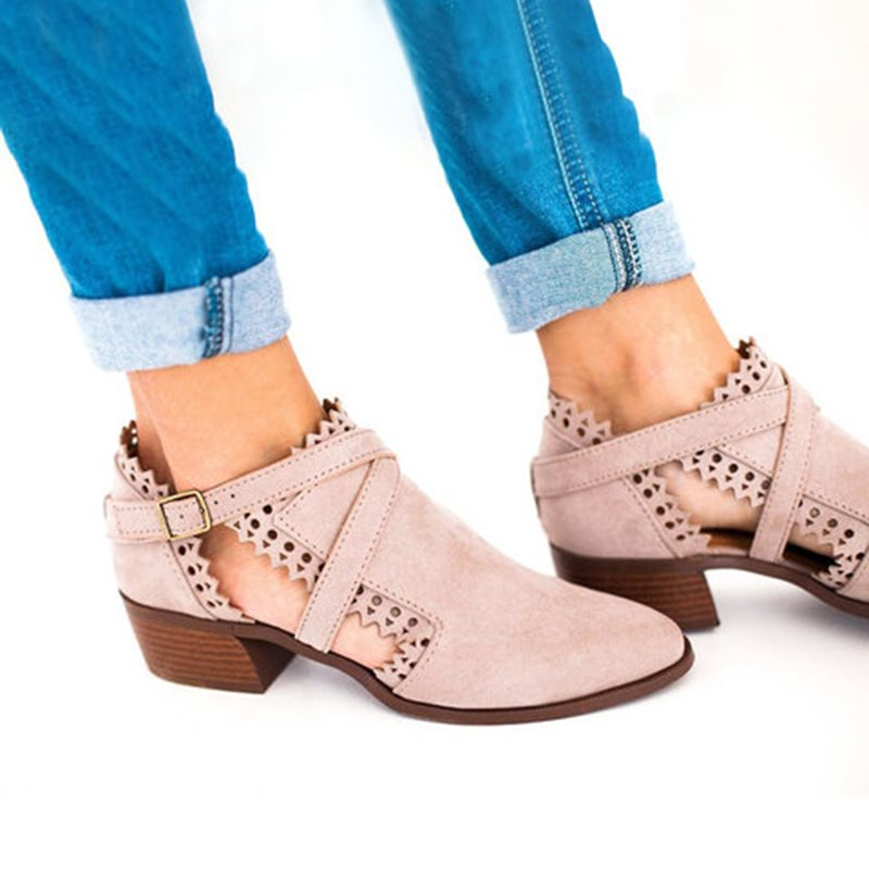 Pointed Toe Plain Block Heel Slip-On Casual Casual Boots
