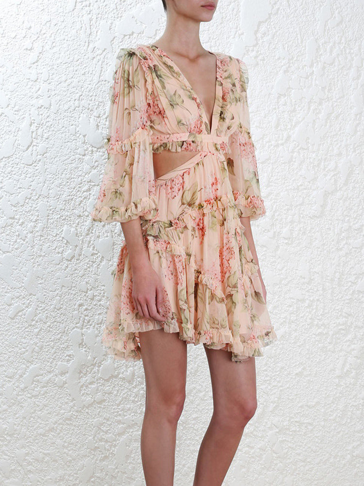 Sexy Print Chiffon V Neck Hollow Out Lantern Sleeve High Waist Dresses