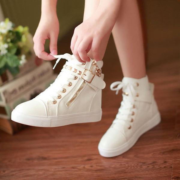 High-Cut Upper Zipper Round Toe Buckle Flat With Plain Sneakers