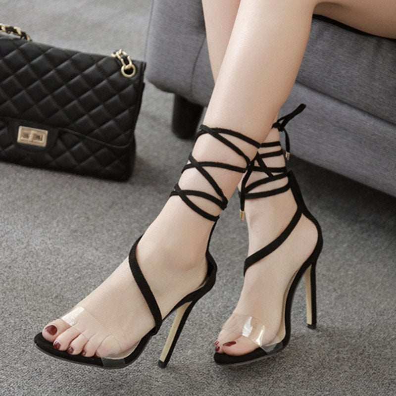Lace-Up Heel Covering Stiletto Heel Open Toe Casual Patchwork Sandals