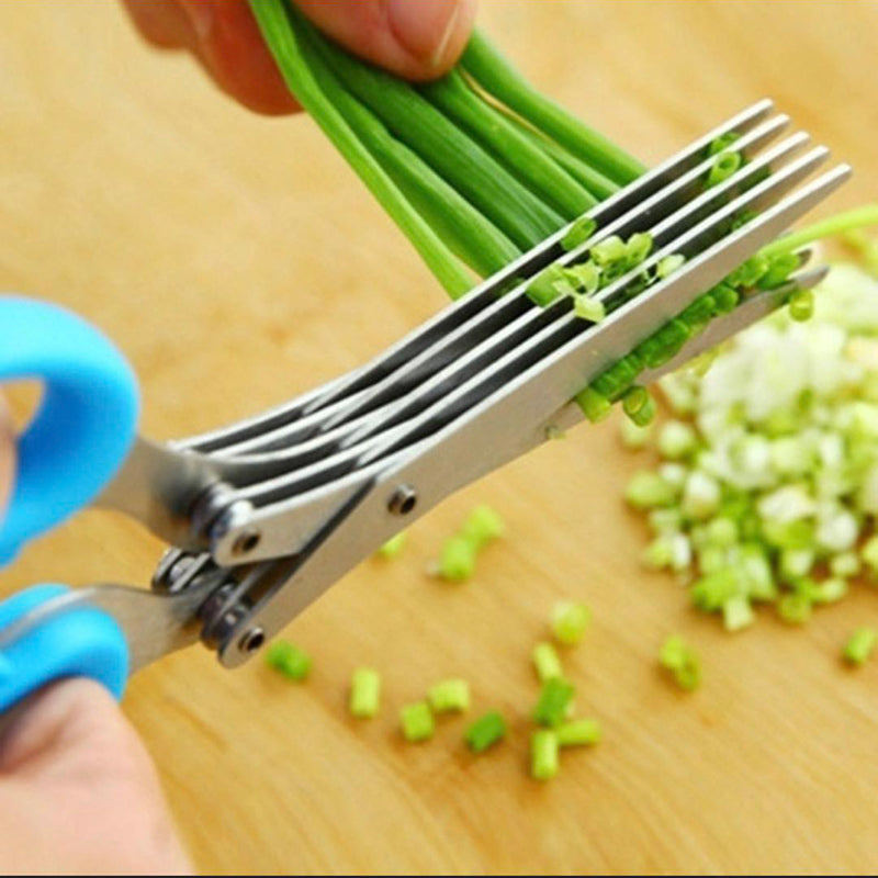19cm Minced 5 Layers Cutter Herb Kitchen Basil Spices Chopped Laver scissor