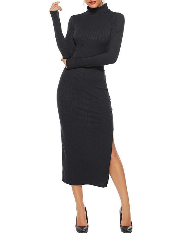 Turtleneck Long Sleeve Button Plain Fashion Dress