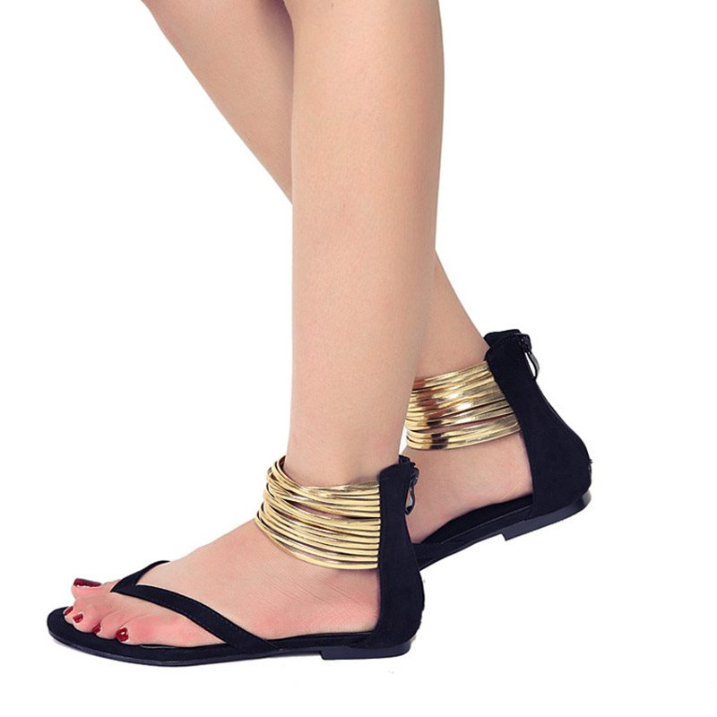 Zipper Block Heel Thong Heel Covering Casual Plain Sandals