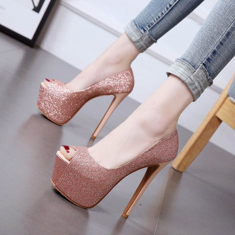 Stiletto Heel Sequin Peep Toe Slip-On Banquet Plain Thin Shoes