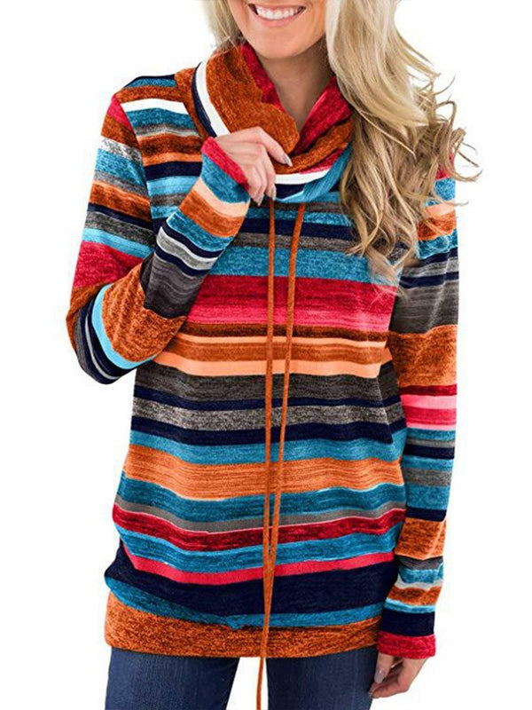 Lace-Up Color Block Regular Long Sleeve Winter Hoodie
