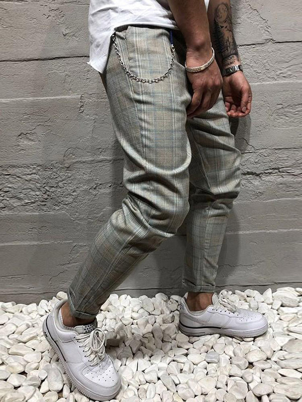 Plaid Button Harem Summer Zipper Casual Pants