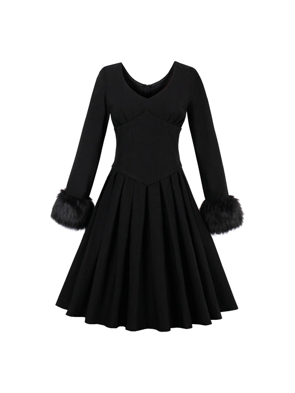 Black Artificial Wool Decorated Women's Long Sleeve Dress