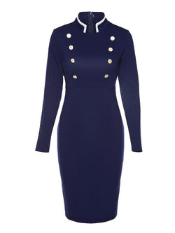 Long Sleeve Double-Breasted Women's Sheath Dress