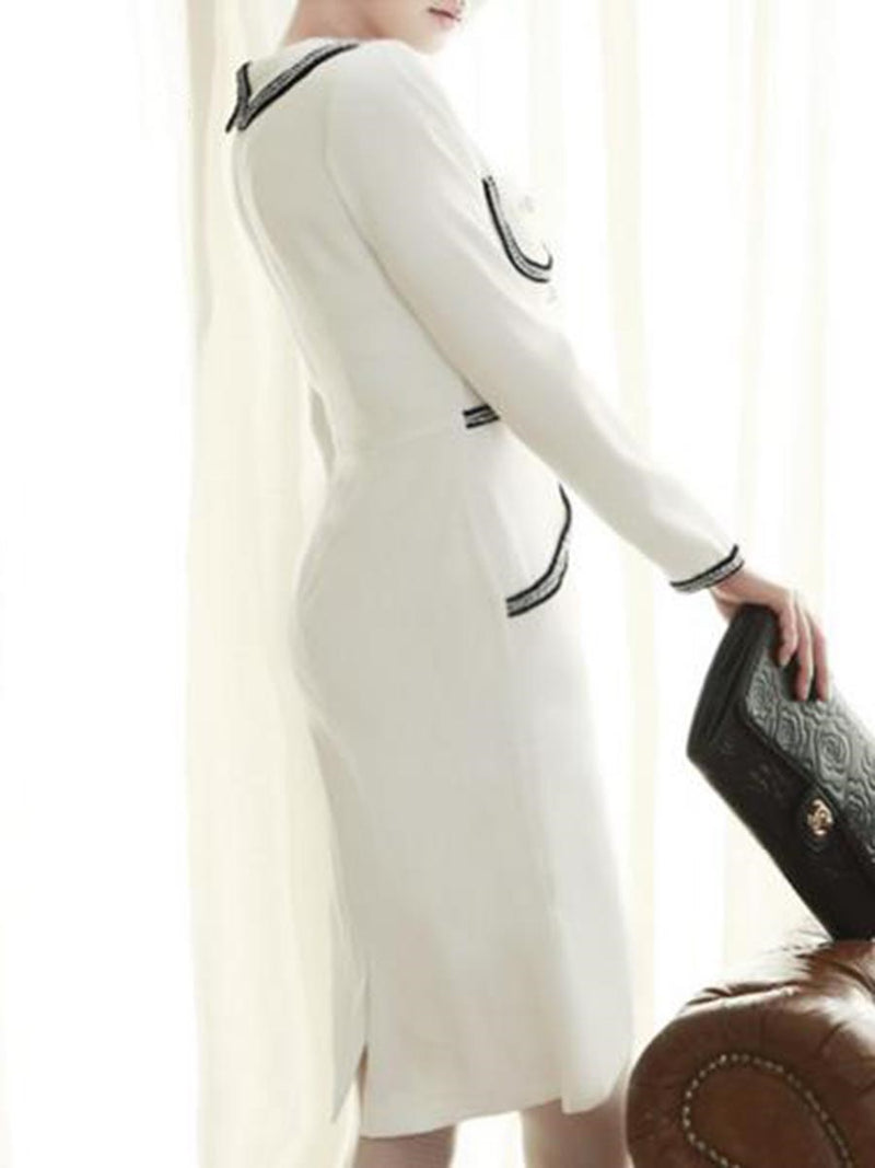 Beads Decorated Long Sleeve Women's Sheath Dress