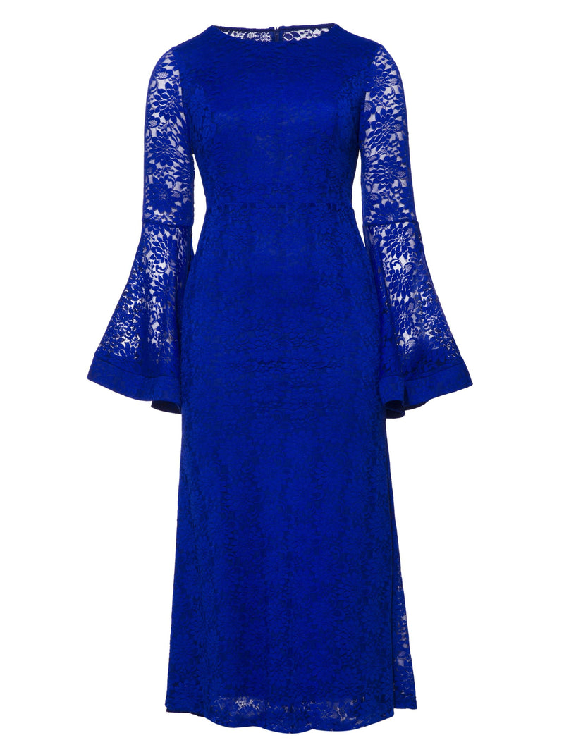 8398a6dd309 Blue Lace Dress With Bell Sleeves - Data Dynamic AG