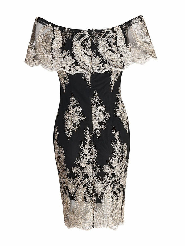 Off Shoulder Lace Patchwork Women's Bodycon Dress