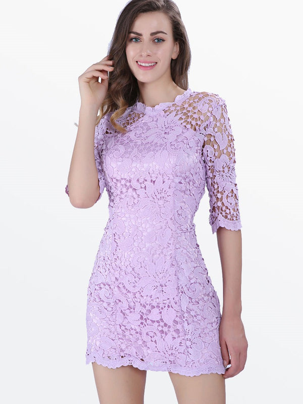 Half Sleeve Hollow Lace Women's Sheath Dress