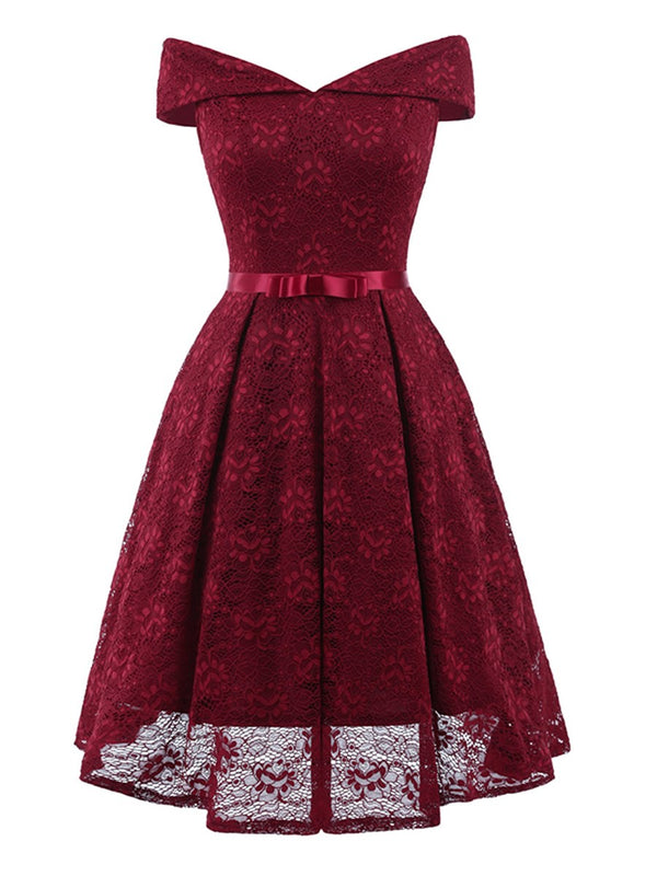Slash Neck Knot Women's Lace Dress