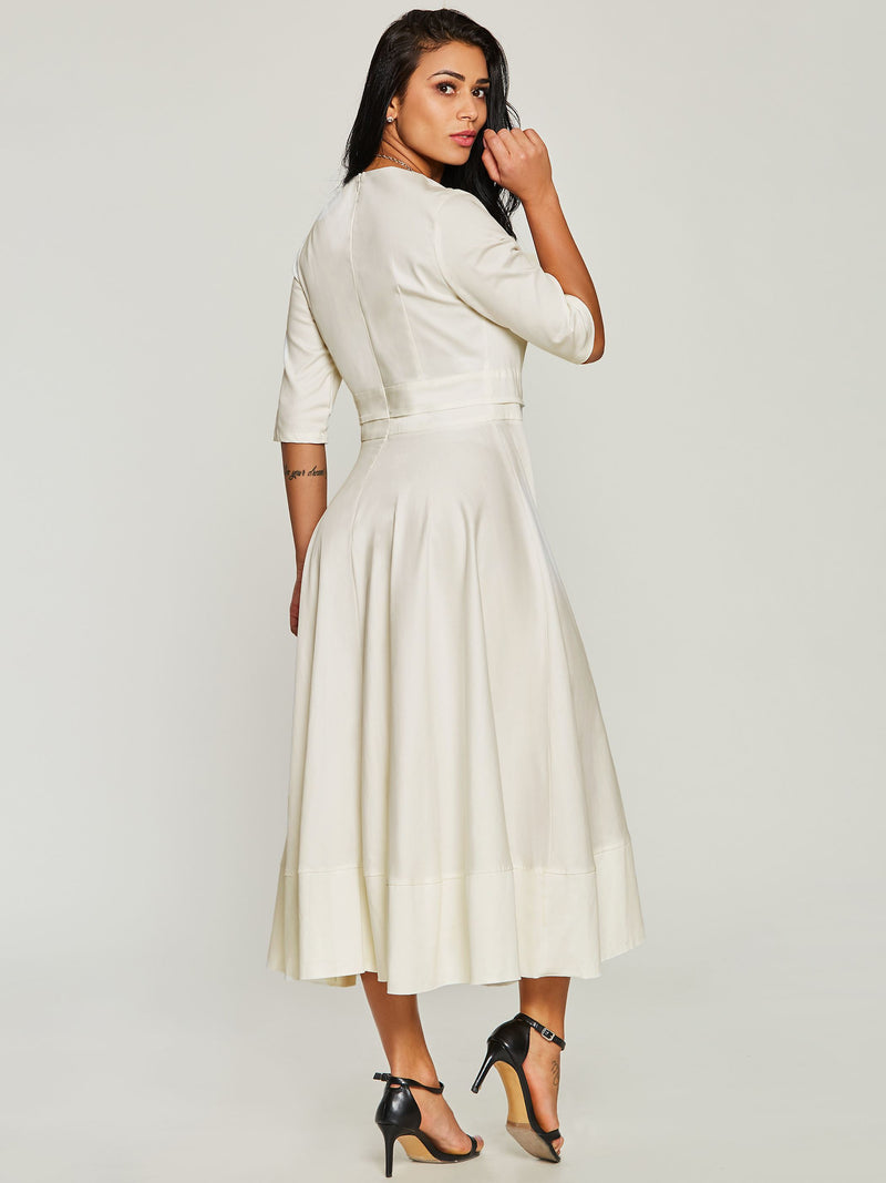 French Romantic V-Neck Half Sleeve Women's Maxi Dress