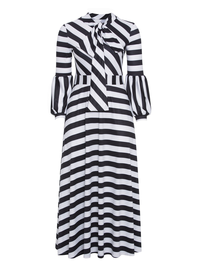 Striped Lantern Sleeve Plus Size Women's Maxi Dress