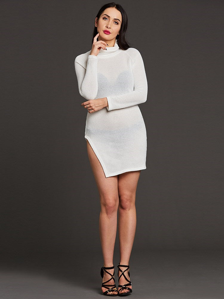 Turtle Neck Split Women's Sweater Dress