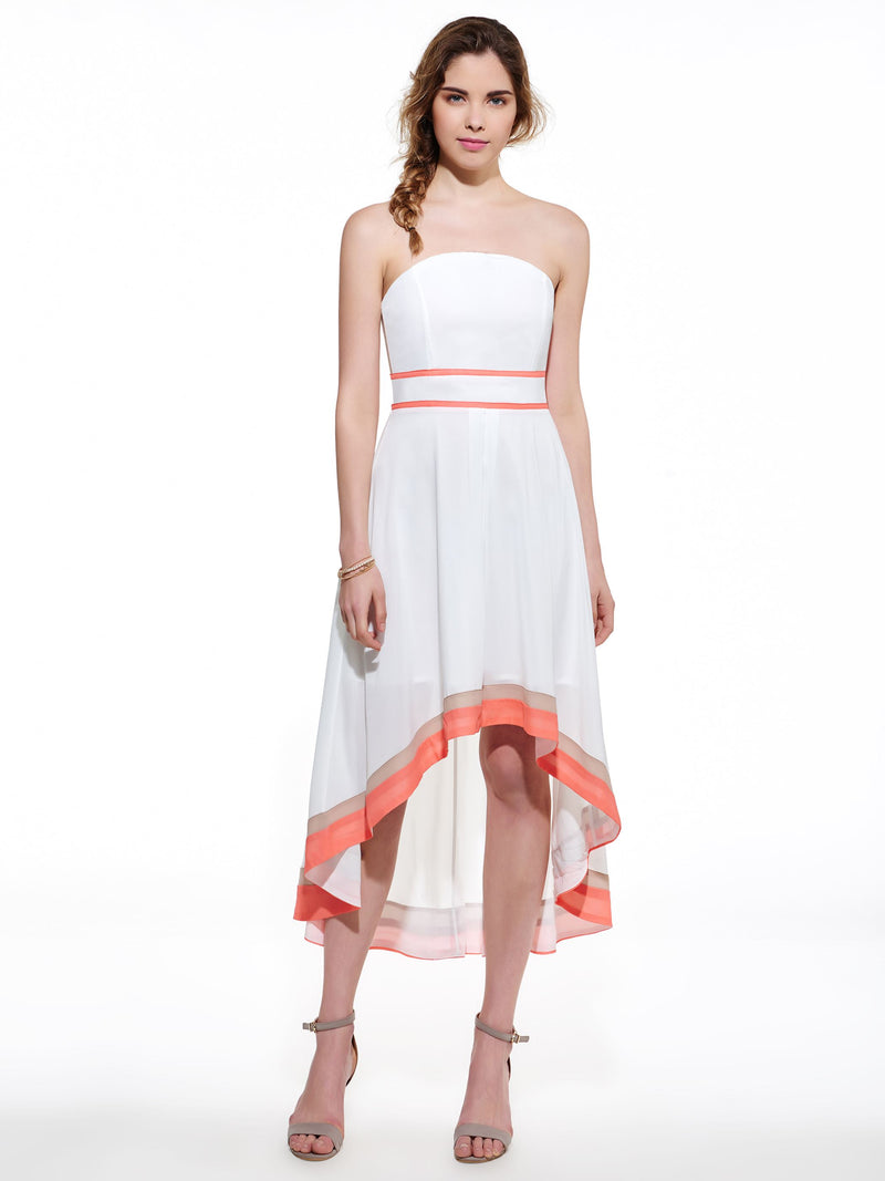 Color Block Strapless Asym Women's Maxi Dress (Plus Size Available)