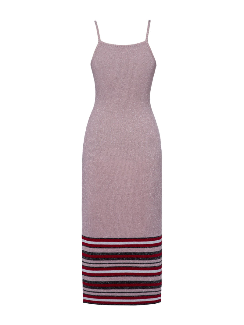 Spaghetti Strap Color Block Stripe Women's Sweater Dress