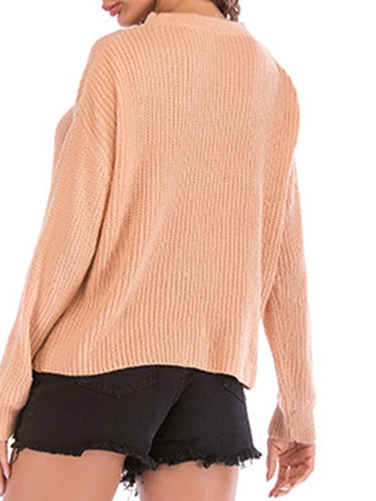Choker Loose Fit Solid Color Women's Sweater