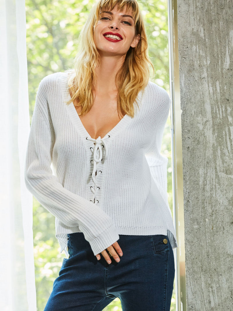Chest Lace-up Deep V Women's Sweater