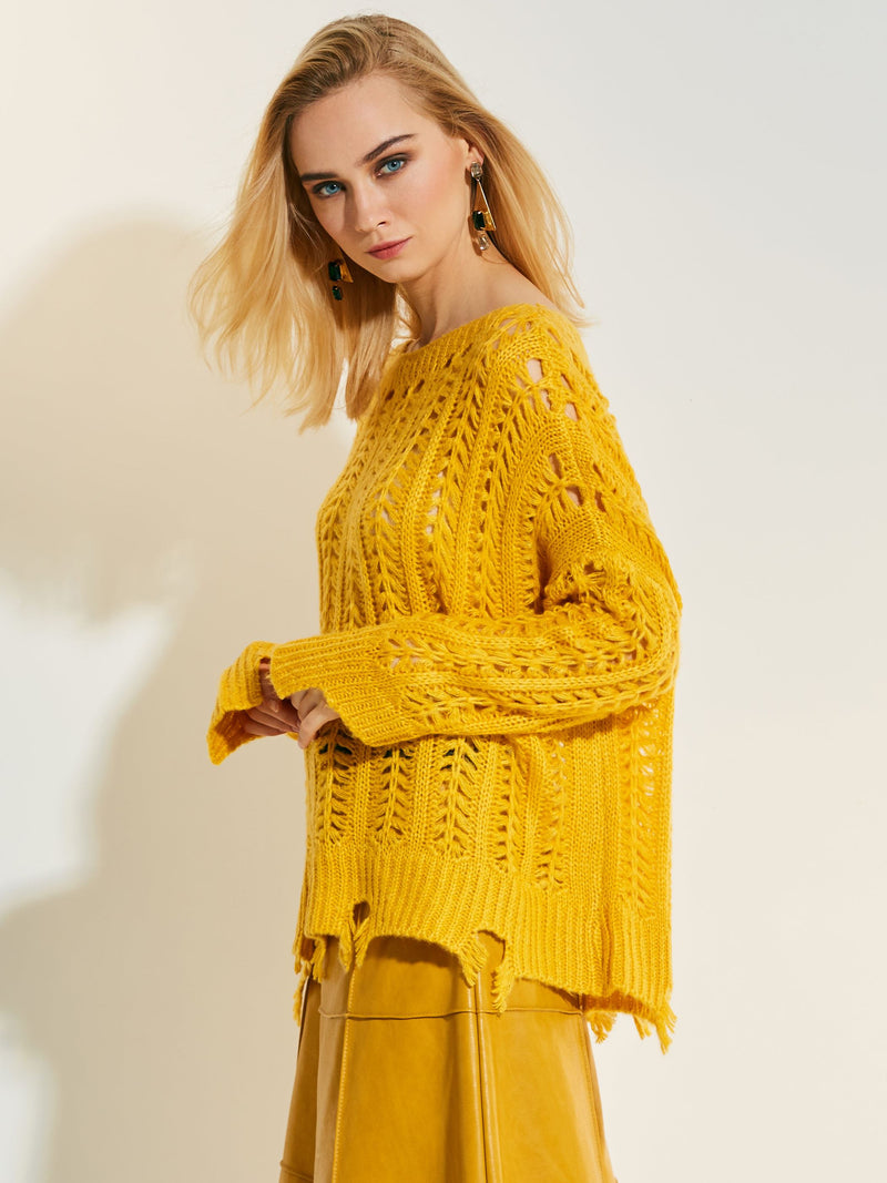 Loose Pullover Hollow Holed Women's Knitwear