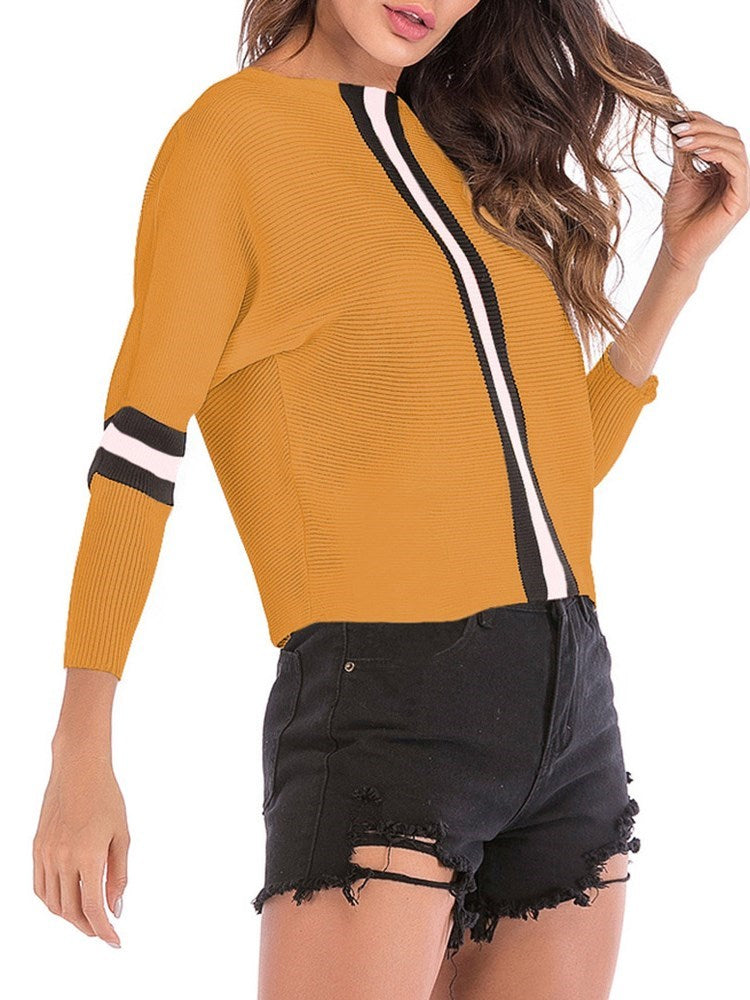 Plain Color Block Boat Neck Women's Sweater