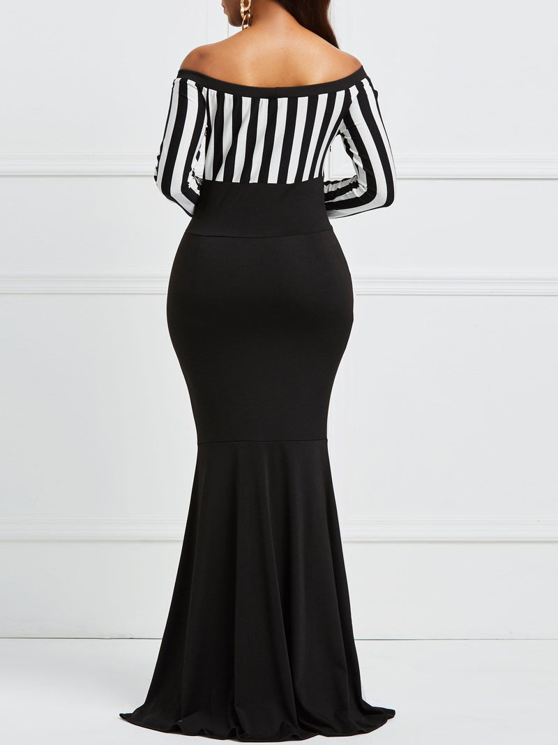Off Shoulder Bodycon Fishtail Women's Maxi Dress