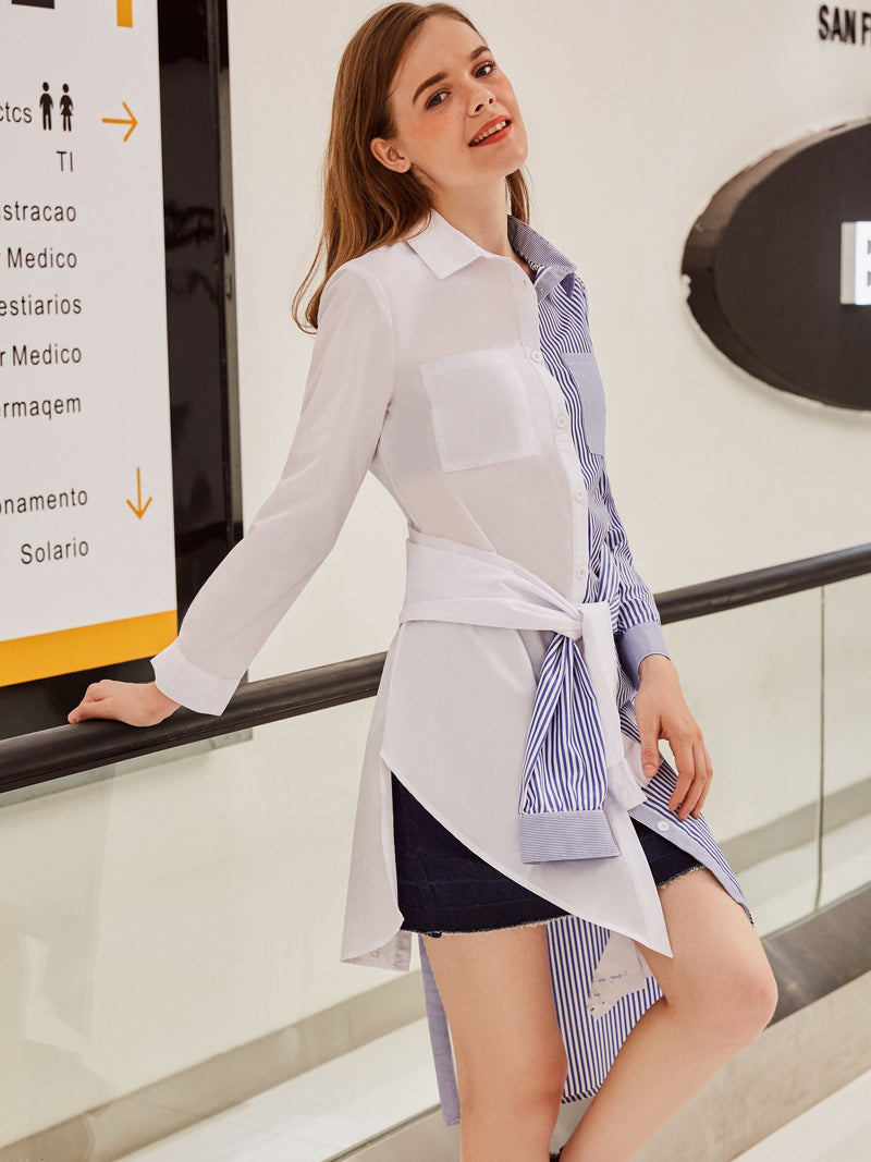 Color Block Button Up Lapel Women's Shirt