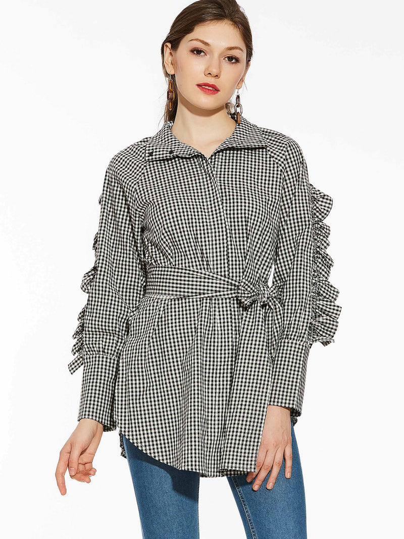 Solid Color Plaid Turtleneck Women's Blouse With Sash