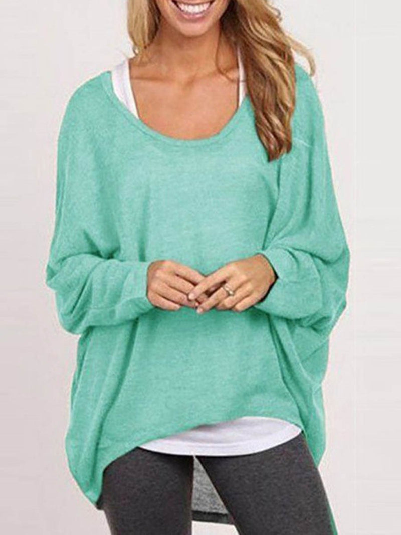 Asymmetric Batwing Sleeve Pullover Women's Sweater