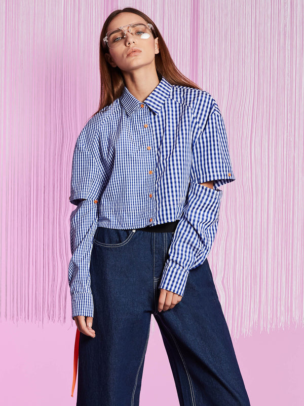 Polo Neck Hollow Lace-Up Plaid Women's Shirt