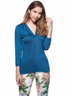 Solid Color Pleated V-neck Slim Women's Blouse