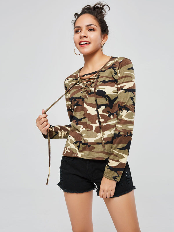 Camo Criss Cross Lace-Up Women's T-Shirt