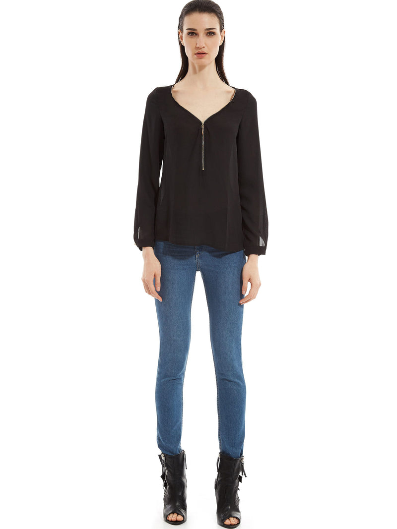 Zipper Front V-Neck Chiffon Women's Blouse