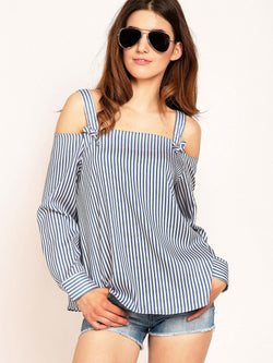 Veritical Stripe Spaghetti Strap Women's Shirt