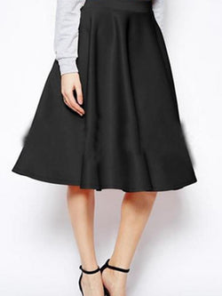 Solid Color Pocket A-Line Women's Skirt