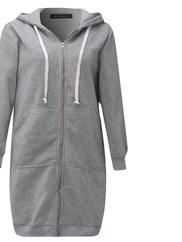 Zipper Up Mid Length Wide Pocket Women's Hoodie