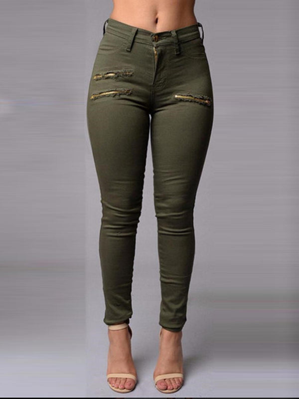 High Waist Skinny Pocket Patchwork Women's Jeans