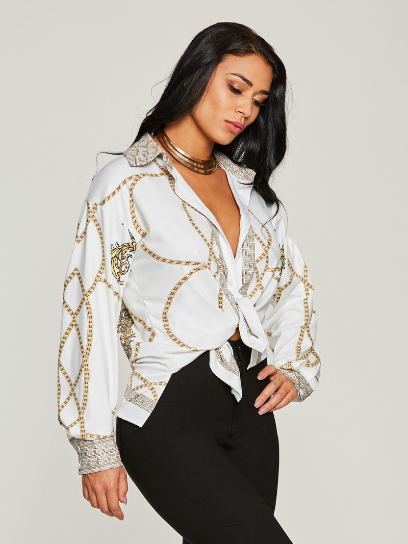 Chic Lace-Up Chain Print Long Sleeve Women's Blouse