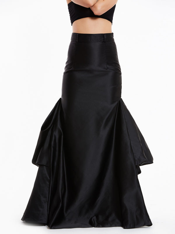 Black Falbala Pleated Long Maxi Skirt