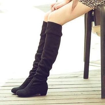 Square Heel Slip-On Over-the-Knee Women's Boots